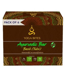 YOGABITES- Protein Bar /Energy Bar - Basil, Almond ,Medjool Dates, Coconut , Flax Seeds , Pumpkin Seeds -60 ge (Pack of 6)