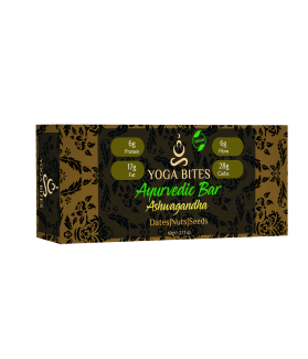 Ayurveda Bars - Dates, Nuts & Seeds With Ashwagandha (Almond Butter,Peanut chopped,Medjool Dates, Pumpkin Seeds, Flax Seeds,Vanilla)-60 Ge