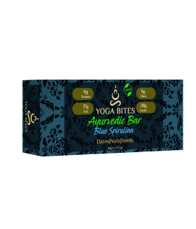 Ayurveda Bars - Dates, Nuts & Seeds with Blue Spirulina (Almond Butter,Peanut Chopped,Medjool Dates, Pumpkin Seeds, Flax Seeds,Vanilla)-60 Ge