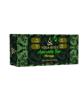 Ayurveda Bars - Dates, Nuts & Seeds with Moringa (Almond Butter,Peanut Chopped,Medjool Dates, Pumpkin Seeds, Flax Seeds,Vanilla)-60 Ge